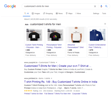Ads V/S organic results on google search page